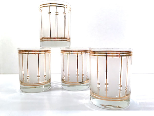 Culver Mid-Century 22-Karat Gold and Frosted Stripes Double Old Fashion Glasses (Set of 4)