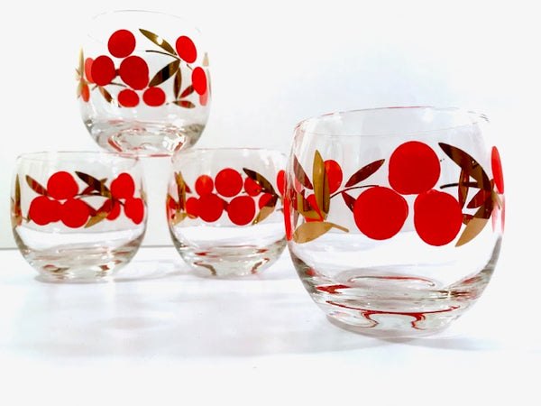 Federal Glass Mid-Century Cherry Roly Poly Glasses (Set of 4)
