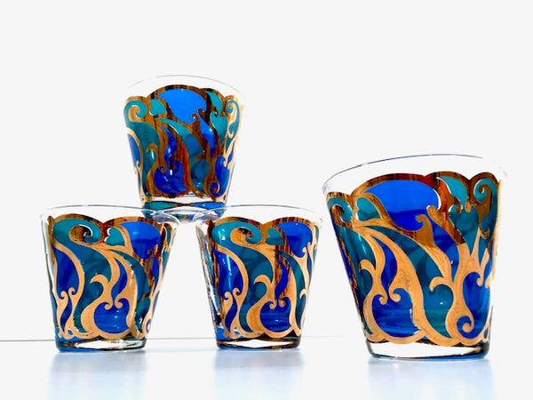 Georges Briard Signed Mid-Century Art Nouveau Old Fashion Glasses (Set of 4)