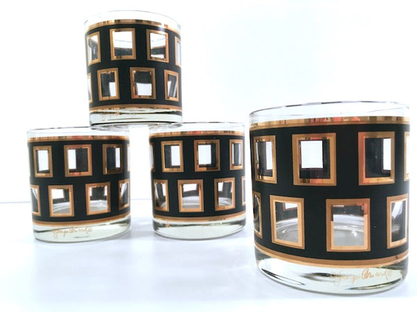 Georges Briard Signed Mid-Century Gold and Black Square glasses (Set of 4)