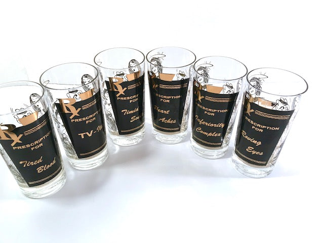 Mid-Century Humorous RX Prescription Bar Set (Set of 6)
