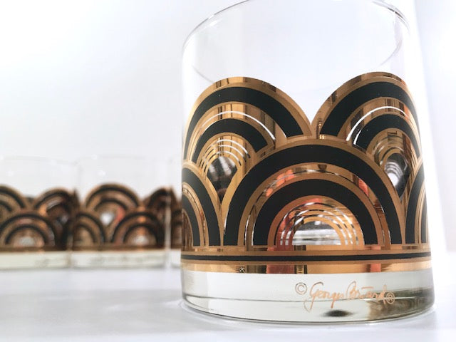 Georges Briard Signed Art Deco Glasses (Set of 6)