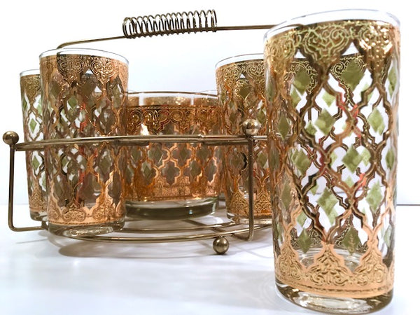 Culver Signed Mid-Century Valencia 10-Piece Bar Set