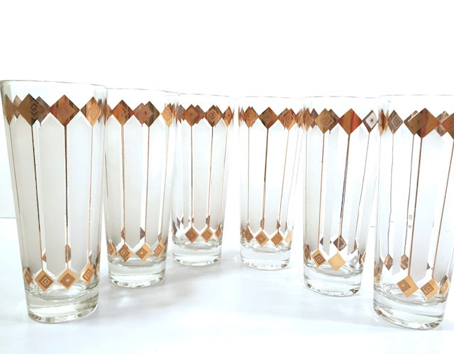 Mid-Century 22-Karat Gold and White Atomic Stars Tall Collins Glasses (Set of 6)