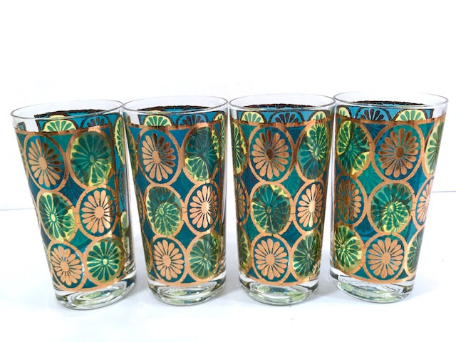 Georges Briard Signed Mid-Century Blue and Green Kaleidoscope Glasses (Set of 4)