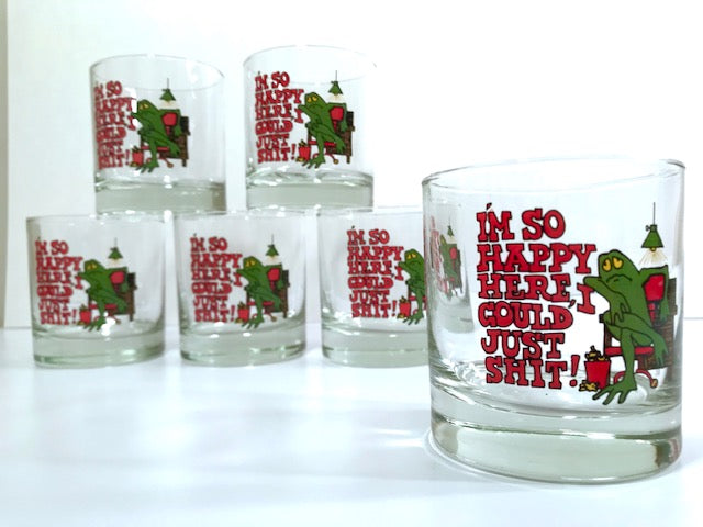 Retro Humorous Frog Old Fashion Glasses (Set of 6)