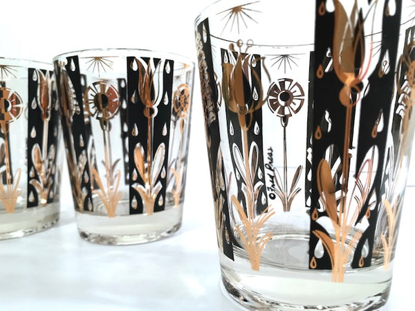 Fred Press Signed Mid-Century 22-Karat Gold and Black Abstract Flower Glasses (Set of 4)