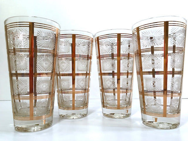 Ned Harris Signed Mid-Century Gold Embossed Highball Glasses (Set of 4)