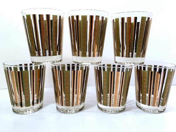 Mid-Century 22-Karat Gold and Green Stripes Double Old Fashion Glasses (Set of 7)