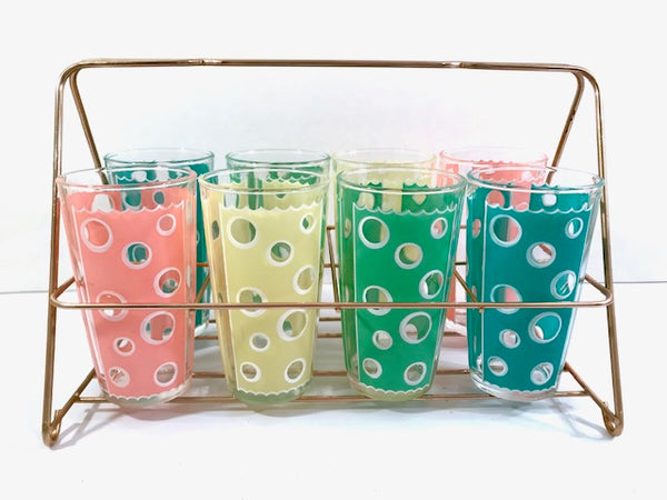 Fred Press - Mid-Century Rainbow Circle Bar Set (8 Glasses and Carrier)
