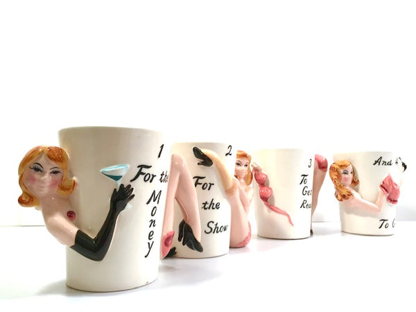 Shafford Mid-Century Party Girls 1-For-The-Money.. Mugs (Set of 4)