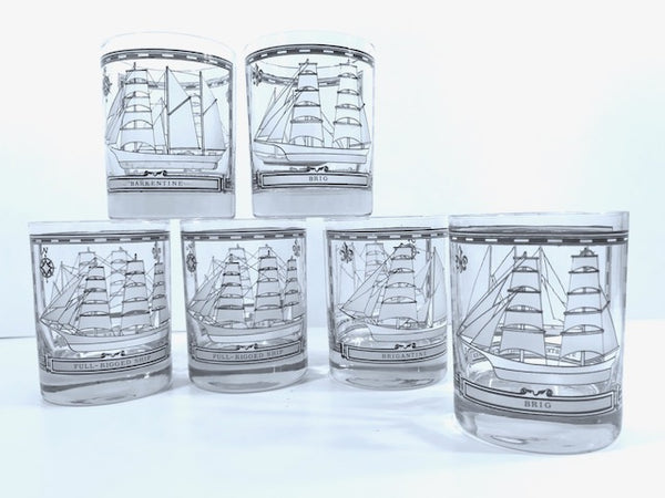 Georges Briard Signed Mid-Century Blue and White Ships Double Old Fashion Glasses (Set of 6)
