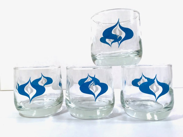 Mid-Century Blue and White Atomic Roly Poly Glasses (Set of 4)