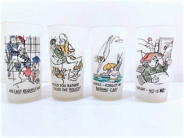 Federal Glass Frosted Risqué and Humorous Glasses (Set of 4)