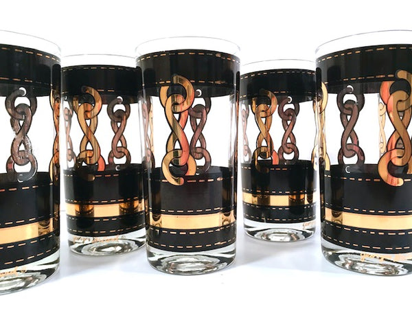 Georges Briard Signed Mid-Century Black with Gold Chains Glasses (Set of 6)