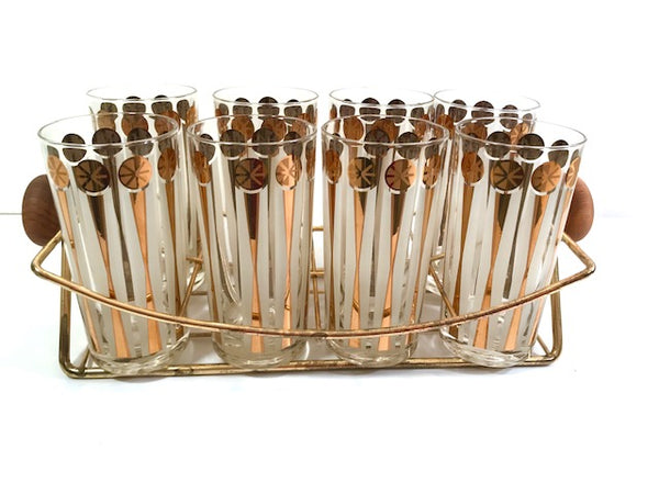 Fred Press Signed Mid-Century Gold and White Atomic Star Glasses (Set of 8 with Carrier)