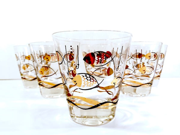 Mid-Century Here Fishy Fishy Double Old Fashion Glasses (Set of 6)