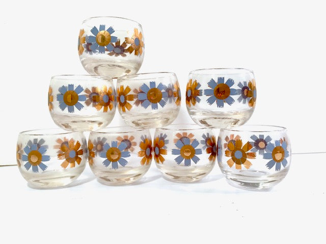 Federal Glass Mid-Century Field of Daisies Small Roly Poly Whiskey Glasses (Set of 8)