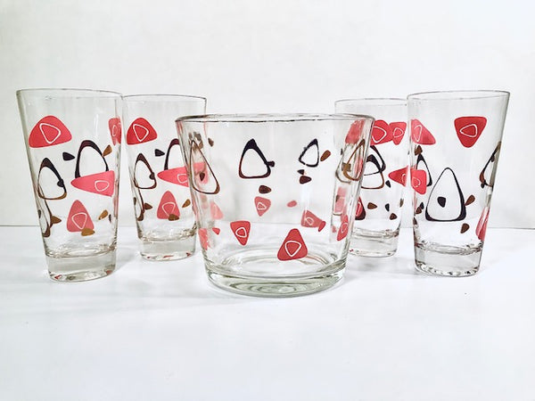 Federal Glass Mid-Century Pink and 22-Karat Gold Amoeba Boomerang Atomic 5-Piece Cocktail Set