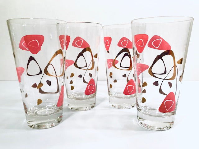 Federal Glass Mid-Century Pink and 22-Karat Gold Amoeba Boomerang Atomic Highball Glasses (Set of 4)