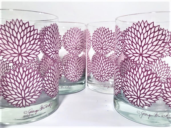 Georges Briard Signed Mid-Century Lavender and White Zinnia Double Old Fashion Glasses (Set of 6)