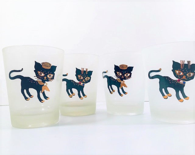 Maida Amour Siamese Hipster Kitten Double Old Fashion Glasses (Set of 4)