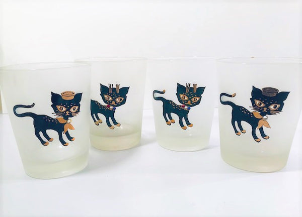 Maida Amour Hipster Siamese Kitten Double Old Fashion Glasses (Set of 4)