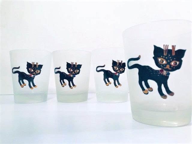 Maida Amour Hipster Siamese Female Kitten Double Old Fashion Glasses (Set of 4)