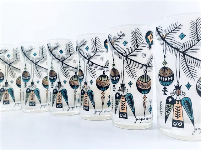 Georges Briard Signed Mid-Century Christmas Tree Branch and Ornament Highball Glasses (Set of 6)