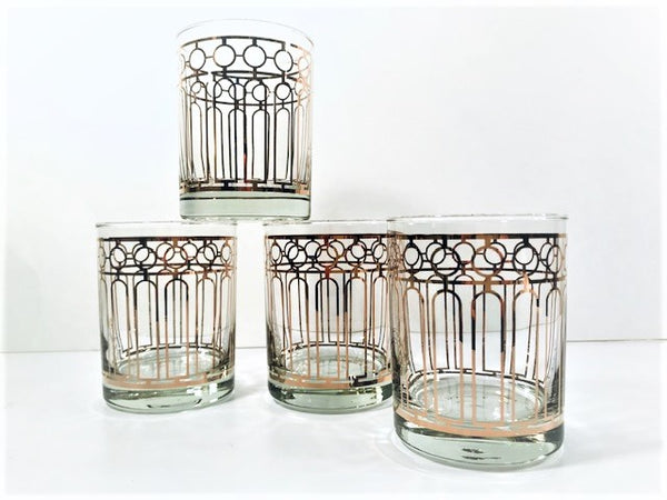 Georges Briard Signed Art Deco Double Old Fashion Glasses (Set of 4)