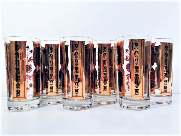 Fred Press Signed Mid-Century Bourbon Cocktail Highball Glasses (Set of 6)