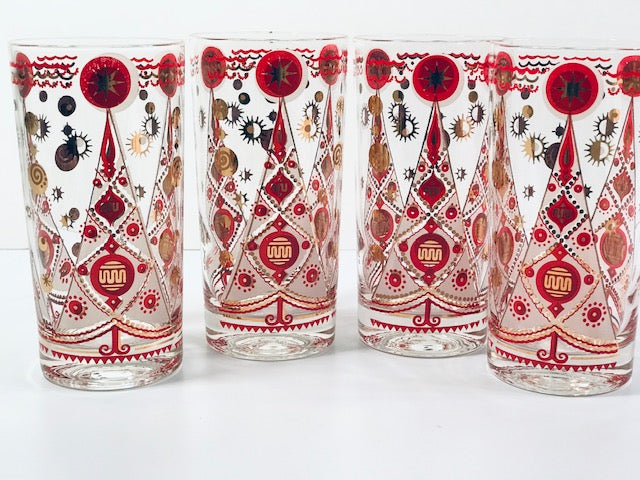 Fred Press Signed Atomic Christmas Tree Glasses (Set of 4)