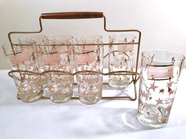 Vintage Pour Another For Atomic 8-Piece Bar Set With Carrier