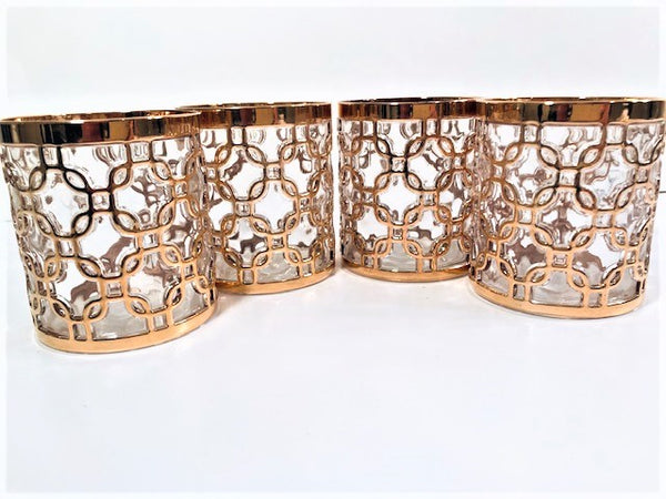 Imperial Glass Mid-Century Golden Chains Old Fashion Glasses (Set of 4)