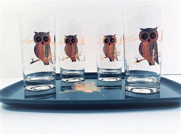 Couroc Signed Mid-Century Black and 22-Karat Gold Owl 5-Piece Set