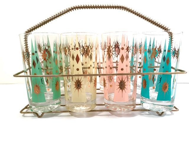 Fred Press Signed Mid-Century Pastel Atomic Burst Highball Glasses (Set of 8) with Carrier