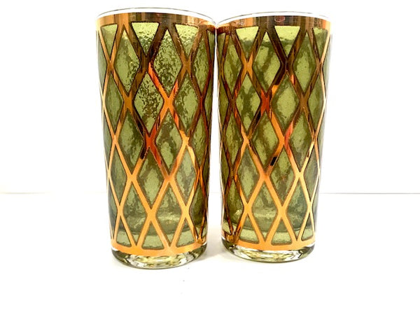 Culver Signed Mid-Century 22-Karat Gold and Green Diamond Highball Glasses (Set of 2)
