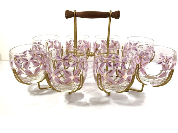 Federal Glass Mid-Century Gold and Lavender Roly Poly Glasses with Atomic Carrier (Set of 8)