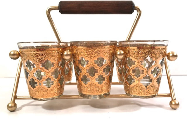 Culver Mid-Century Valencia Shot Glasses with Atomic Carrier (Set of 6)