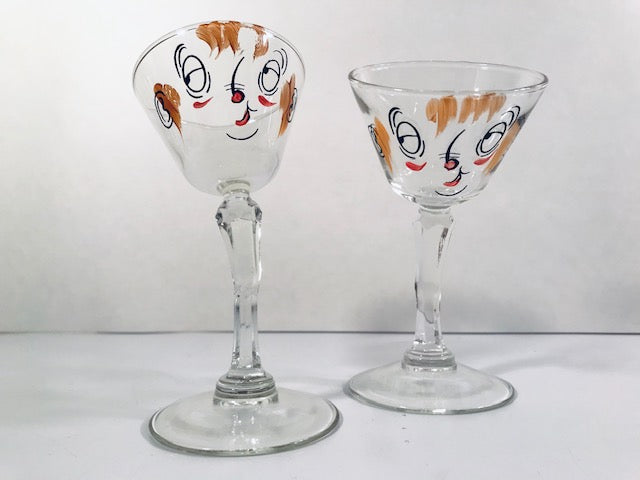 Gay Fad Mid-Century Tipsy Slanted Martini Glasses (Set of 2)