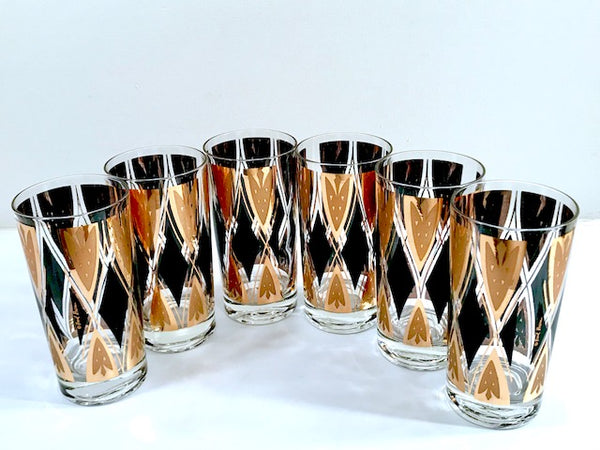 Fred Press Signed Mid-Century 22-Karat Gold and Black Diamond Glasses (Set of 6)