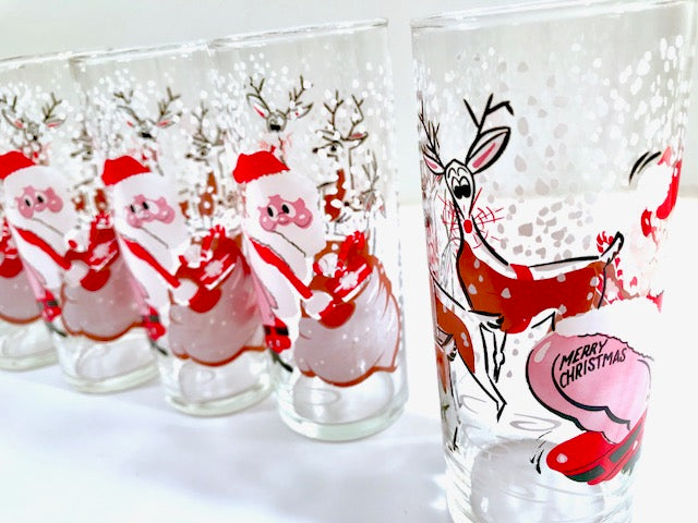 Mid-Century Naughty Santa and Reindeer Highball Glasses (Set of 6)