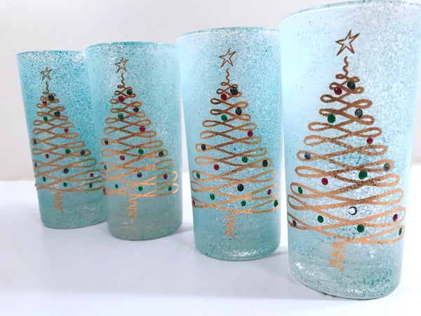Federal Glass Mid-Century Blue Christmas Glasses (Set of 4)