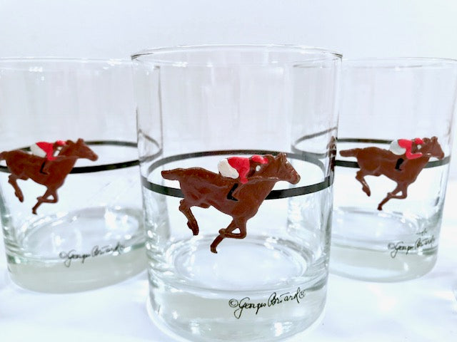 Georges Briard Signed Mid-Century Kentucky Derby Double Old Fashion Glasses (Set of 6)