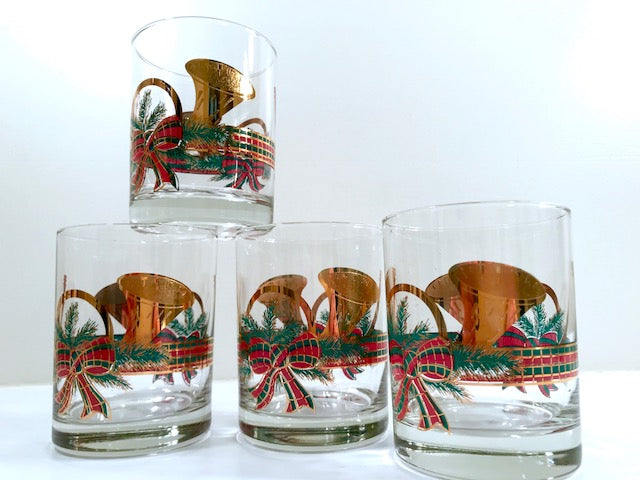 Culver Mid-Century Yule Horn Double Old Fashion Glasses (Set of 4)