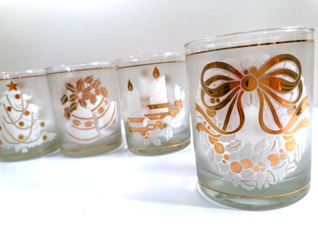 Culver Signed Mid-Century 22-Karat Gold & White Christmas Double Old Fashion Glasses (Set of 4)