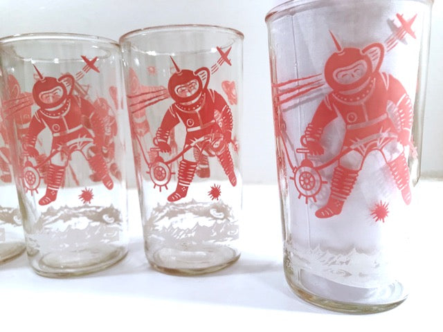 Mid-Century Pink Atomic Space and Astronaut Highball Glasses (Set of 5)