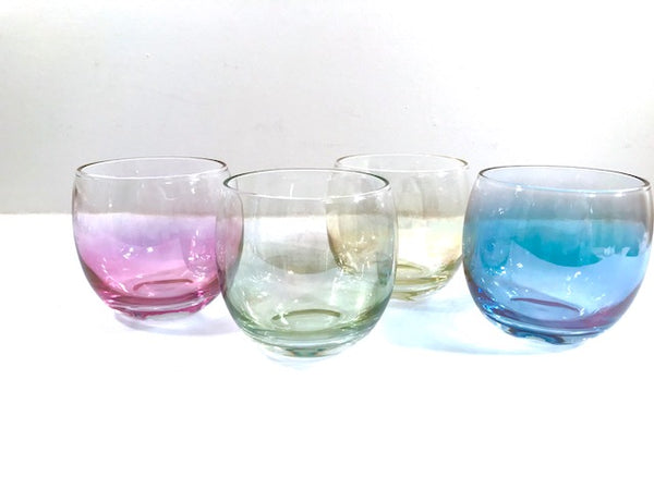 Federal Glass Mid-Century Somewhere Over the Rainbow Roly Poly Glasses (Set of 4)