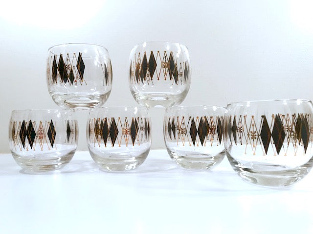Federal Glass Mid-Century Gold and Black Harlequin Roly Poly Glasses (Set of 6)