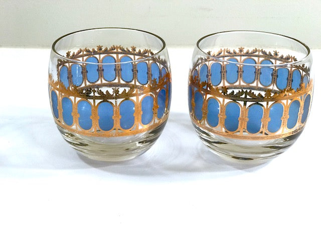 Culver Signed Mid-Century Blue Azure Scroll Roly Poly Glasses (Set of 2)